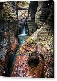 Slot Canyon Waterfall At Zion National Park Acrylic Print