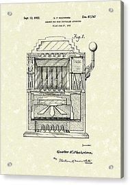 Slot Machine 1932 Patent Art Acrylic Print by Prior Art Design