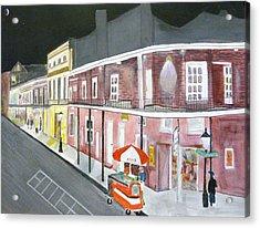 Slow Night On Bourbon St. Acrylic Print by Cathy Jourdan