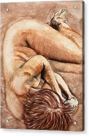 Acrylic Print featuring the drawing Slumber Pose by Kerryn Madsen-Pietsch