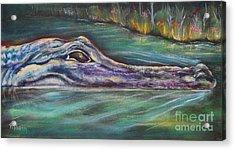 Sly Gator Acrylic Print by Patricia Piffath