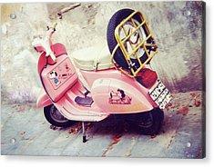 Pink Peanuts Vespa Acrylic Print