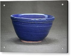 Small Blue Ceramic Bowl Acrylic Print by Suzanne Gaff