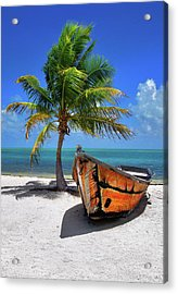 Small Boat And Palm Tree On White Sandy Beach In The Florida Keys Acrylic Print