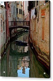 Small Boat On Canal In Venice For Vrooman Acrylic Print by Michael Henderson