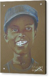 Small Boy, Big Grin -- Retro Portrait Of Black Boy Acrylic Print by Jayne Somogy