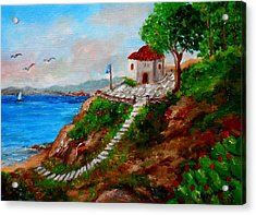 Small Church In Greece Acrylic Print by Constantinos Charalampopoulos