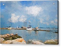 Small Dock With Boats Acrylic Print