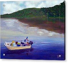 Small Fishing Boat Acrylic Print by Tony Rodriguez