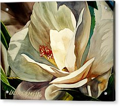 Small Gardenia Acrylic Print by Lelia DeMello
