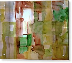 Small Grid In Earth Tones Acrylic Print by Joan Norris