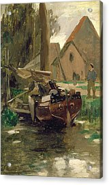 Small Harbor With A Boat  Acrylic Print by Thomas Ludwig Herbst