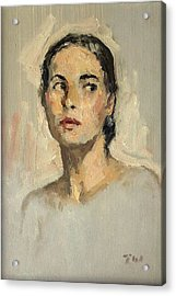 Small Oil Painting Portrait Study Young Woman Acrylic Print