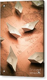 Small Paper Boats On Top Of Old Map Acrylic Print