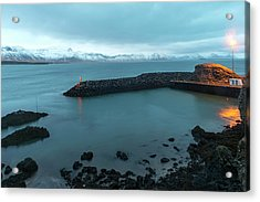 Acrylic Print featuring the photograph Small Port Near Snaefellsjokull Mountain, Iceland by Dubi Roman