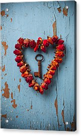Small Rose Heart Wreath With Key Acrylic Print by Garry Gay