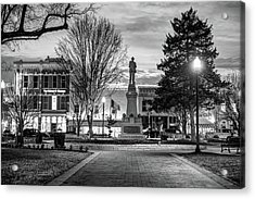 Small Town America Skyline - Downtown Bentonville Square  - Black And White Acrylic Print