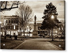 Small Town America Skyline - Downtown Bentonville Square  - Sepia Acrylic Print