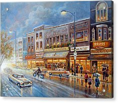 Small Town On A Rainy Day In 1960 Acrylic Print by Regina Femrite