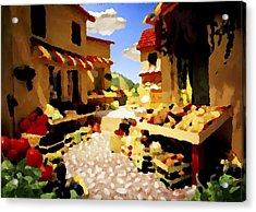 Acrylic Print featuring the digital art small urban market on Capri island by Dr Loifer Vladimir