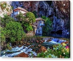 Small Village Blagaj On Buna Waterfall, Bosnia And Herzegovina Acrylic Print by Elenarts - Elena Duvernay photo