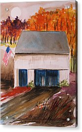 Small White Barn Acrylic Print by John Williams