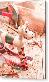 Small Xmas Reindeer On Wood Shavings In Workshop Acrylic Print