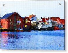 Smeasund Haugesund Acrylic Print by Michael Greenaway