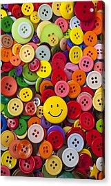 Smiley Face Button Acrylic Print by Garry Gay