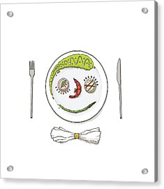 Smiley Face Created With Food On Plate Acrylic Print