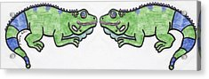 Smiley Iguanas Acrylic Print by Yshua The Painter