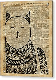 Smiling Cat Pen And Ink Zentagle Dictionary Art Acrylic Print