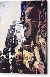 Acrylic Print featuring the painting Smiling Faces- Bayon Temple, Cambodia by Ryan Fox