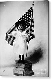 Smiling Little Girl With Us Flag Acrylic Print by H. Armstrong Roberts/ClassicStock
