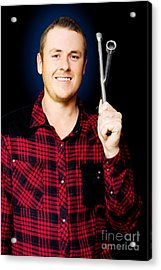 Smiling Mechanic With A Lug Wrench Acrylic Print by Jorgo Photography - Wall Art Gallery