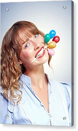 Smiling Party Person With Birthday Balloons Acrylic Print