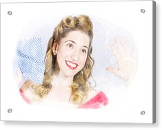Smiling Pinup Cleaner With Retro Hair And Makeup  Acrylic Print by Jorgo Photography - Wall Art Gallery