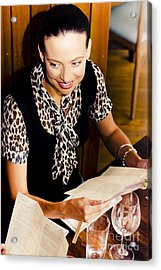 Smiling Woman At Restaurant Acrylic Print by Jorgo Photography - Wall Art Gallery