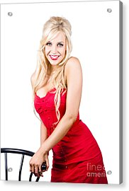 Smiling Woman In Red Dress Acrylic Print