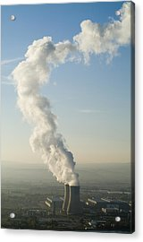 Smoke Emitting From Cooling Towers Of Tricastin Nuclear Power Plant Acrylic Print by Sami Sarkis