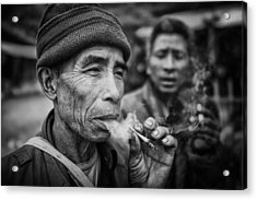 Smokers Acrylic Print by Franz Sussbauer