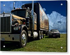 Smokey And The Bandit Tribute 1973 Kenworth W900 Black And Gold Semi Truck And The Bandit Transam Acrylic Print by Tim McCullough