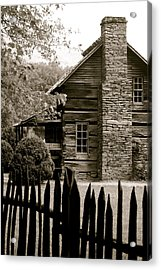 Smokey Mountain Farm Cabin With Picket Fence Acrylic Print by Kimberly Camacho