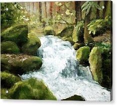 Smokey Mountain Waterfall Acrylic Print by Melissa Herrin