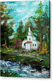 Smokey Mountains Church Acrylic Print by Lynda McDonald