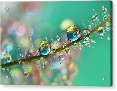 Smokey Rainbow Drops Acrylic Print by Sharon Johnstone
