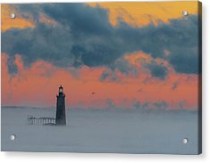 Smokey Sunrise At Ram Island Ledge Light Acrylic Print