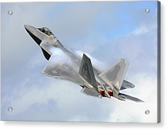 Acrylic Print featuring the digital art Smokin - F22 Raptor On The Go by Pat Speirs