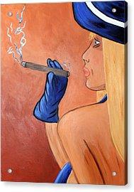 Smokin Madam Acrylic Print by Victoria  Johns