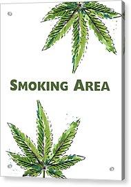 Smoking Area - Art By Linda Woods Acrylic Print by Linda Woods